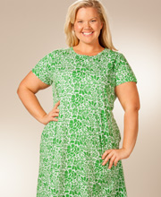 "Plus Size La Cera ""Easy Fit"" Knit A-Line Dress - Green Floral"