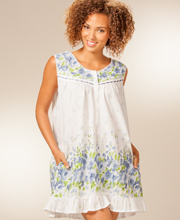 La Cera Cotton Sleepwear - Sleeveless Short Gown in Wildflower Bleu