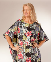 Women's Cotton Lounger Caftan One Size by Peppermint Bay - Tropical Essence