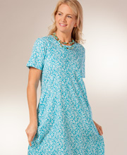 "La Cera ""Easy Fit"" Knit A-Line Dress - Turquoise Daffodil"