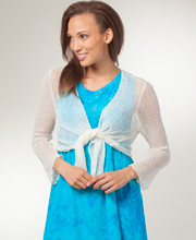 3/4 Sleeve Knit Shrug By Eagle Ray Traders - Ivory