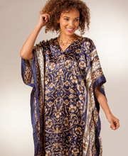 Satin Charmeuse Caftans - One Size Fits Most in Midnight Elegance