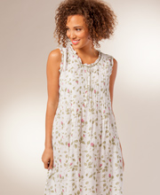 "La Cera ""Soft and Easy"" Sleeveless Cotton Night Gown  - Blooming Vines"