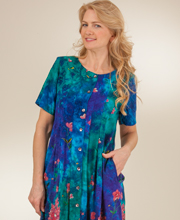 La Cera Dress - Rayon Short Sleeve Button Front - Twilight Garden