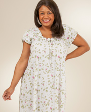 Plus Size Cotton Cap Sleeve House Dress/Gown by La Cera - Blooming Vines