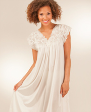 Short Nightgowns by Shadowline - Silhouette Flutter Sleeves Night Gown in Ivory