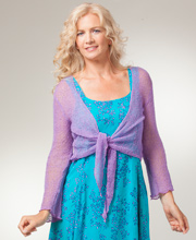 Lilac 3/4 Sleeve Knit Shrug By Eagle Ray Traders