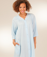 3/4-Sleeve Shadowline Petals Waltz Robe - Soft Blue