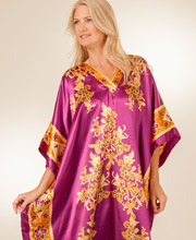 Women's One Size Satin Charmeuse Caftan in Tiki Plum