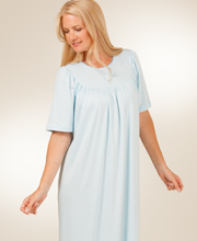 Short Sleeve Cotton Knit  Night gown in Blue