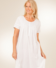 La Cera Plus Size Nightgown - White Cotton Short Sleeve in Pearl Innocence