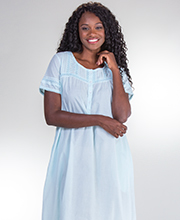 La Cera Cotton Short Sleeve Nightgown in Pearl Innocence - Blue