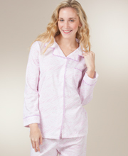 Brushed Back Knit Pajamas - Button Front Long Sleeve PJs in Pink Haze
