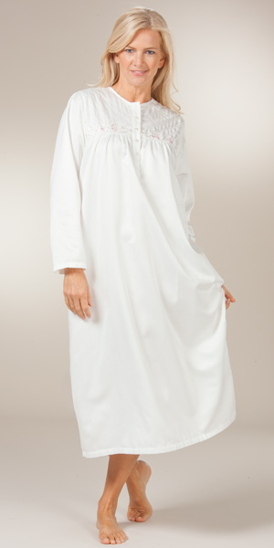 Brushed Back Satin Nightgowns - KayAnna Long Embroidered Gown in Ivory d5800d7e6