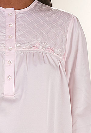 Brushed Back Satin Nightgowns - KayAnna Long Embroidered Gown in Pink dfaf58731