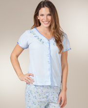 Women's Pajamas - Short Sleeve Jersey Knit Pajamas in Blue Serenade