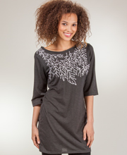 Tunic Tops - Embroidered Boat Neck Knit Tunic - Shadow Sprigs