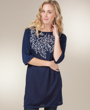 Tunics - Embroidered Boat Neck Knit Long Top - Sapphire Sprigs