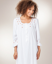 Cotton Nightgown - White La Cera Smocked Knit Long Gown - Red Rosettes