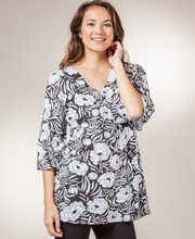 Tops for Women - La Cera 2/3 Sleeve Knit Tunic - White Floral