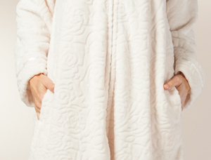 Images of Z12-1-2015 Plus Robes for Women - Long Zip Front Rose Embossed Fleece  Robe in Cream  a5fa5a3b7
