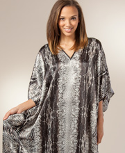 Womens Satin Winlar Kaftans - Satin Charmeuse Long Kaftan One Size - Grey Congo