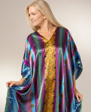Plus Satin Kaftans - Satin Charmeuse Caftans by Winlar in Bengal Bay
