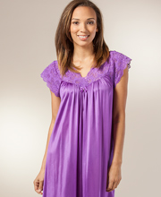 Shadowline Silhouette Long Purple Night Gown with Flutter Sleeves