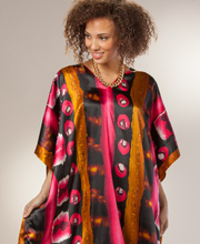 Plus Women's Winlar Satin Kaftan in Pomegranate Martini