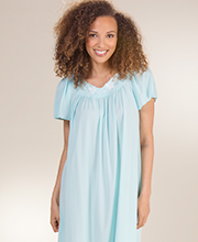 Short Nightgown - Miss Elaine Nylon Classics Flutter Sleeve Gown in Seafoam
