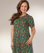 Casual Cotton Dress - La Cera Knit A-line in Pixie Garden