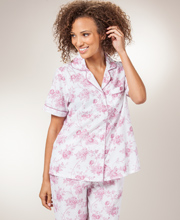 Women's Cotton Pajamas - La Cera Short Sleeve Pajamas in Victorian Roses