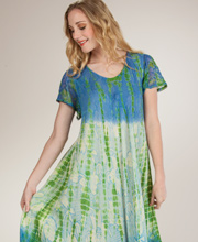 Cotton Long Dress - Short Sleeve One Size Beach Dress - Luminous Skies