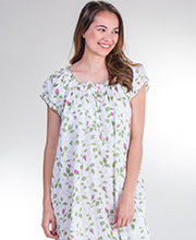 La Cera Cotton Cap Sleeve House Dress/Gown - Blooming Vines