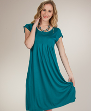 Short Sleeve Dresses - La Cera Knee Length Rayon Dress in Cerulean