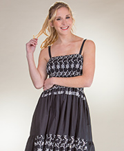 Cotton Dress - Adjustable Strap Short Smocked Dress in Sparkling Black