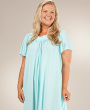 Plus Miss Elaine Classics Nightgown - Nylon Ballet Length in Seafoam