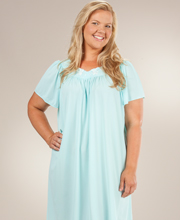 Plus Size Nightgown - Miss Elaine Classics Nylon Short Gown in Seafoam