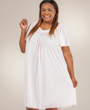 Plus Nylon Nightgown - Miss Elaine Classics Short Gown in Soft Pink