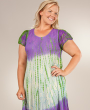 Plus Long Dress - Short Sleeve Cotton Beach Dress - Luminous Spirit