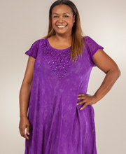 Short Sleeve Cotton Easy Fit Plus Umbrella Dress in Purple Batik