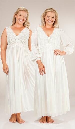 Plus Shadowline Silhouette Long Nightgown Robe Peignoir Set - Ivory 3d8f3994f