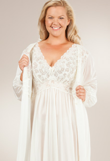 31e4c15aa9fbe Plus Shadowline Silhouette Long Nightgown/Robe Peignoir Set - Ivory