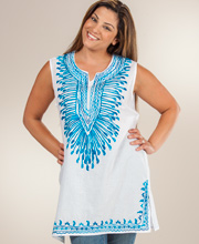 One Size Tunic  - 100% Cotton Sleeveless Top in India Turquoise
