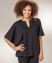 Poncho Top - Natori Poly Blend V-Neck Top in Ebony