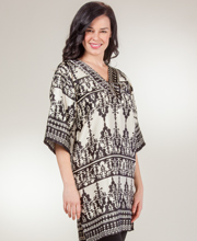 Women's Caftans - Short Length Satin Charmeuse Kaftan - Vignette