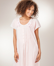 Cotton Nightgowns - La Cera Short Sleeve Lace-Trim Gown in Pink