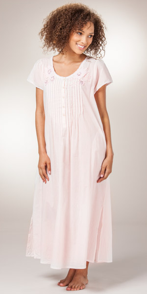 25b2e98cfb Cotton Nightgowns - La Cera Short Sleeve Lace-Trim Gown in Pink