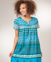 La Cera Dresses - Cotton Short Sleeve Muu Muu Dress in Cottage Blue
