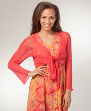 Eagle Ray Traders 3/4 Sleeve Knit Shrug - Coral